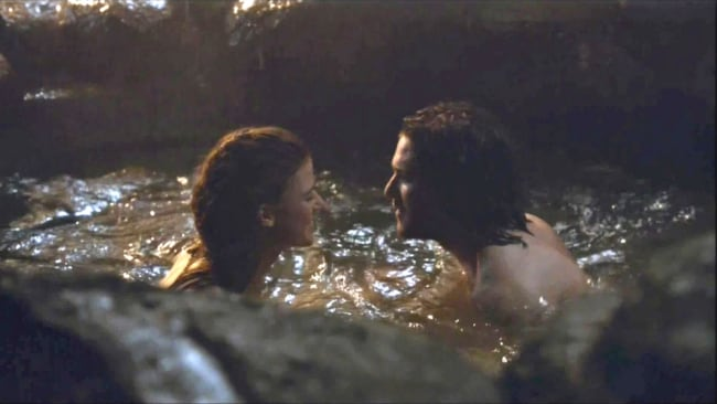 Ygritte and Jon Snow in their love cave in Iceland. Photo: HBO