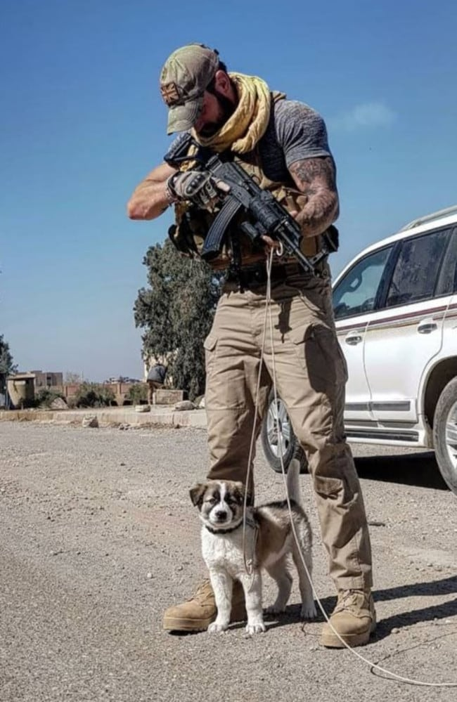 Sean Laidlaw was stationed in Syria in February 2018 when he found the scared pup surrounded by rubble.