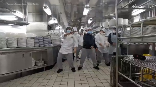 Diamond Princess staff stay positive by dancing to Justin Bieber song