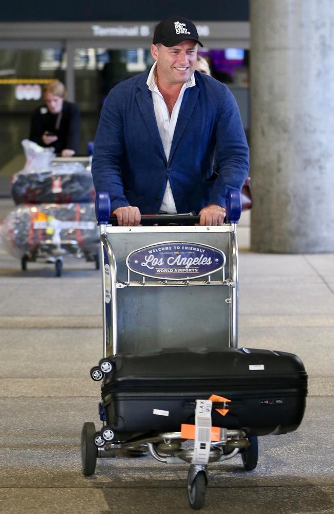 Stefanovic has arrived in Los Angeles with his fiancee and family ahead of their wedding. Picture: Backgrid