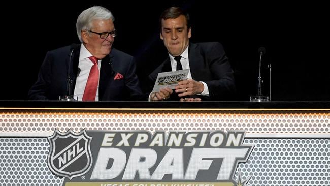 Majority owner Bill Foley and general manager George McPhee of the Vegas Golden Knights announce their picks during the 2017 NHL Awards and Expansion Draft.