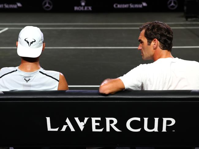 'Rafa, you know I only have 20? Can you stop winning slams please?' (Photo by Clive Brunskill/Getty Images for Laver Cup)