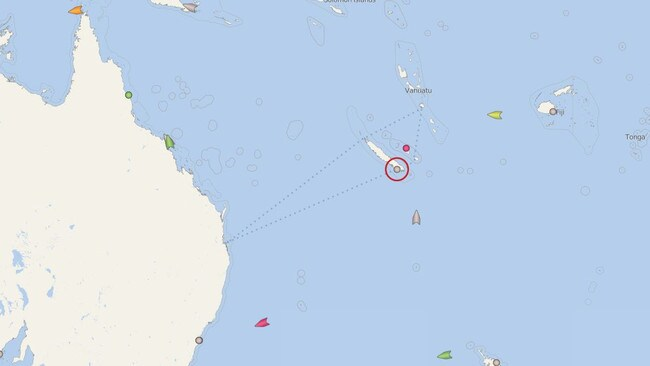 The Pacific Dawn (circled) waited out rough conditions, near New Caledonia. Picture: CruiseMapper