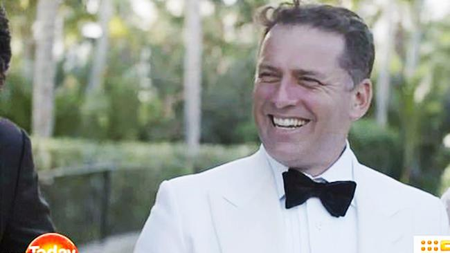 Karl Stefanovic and Jasmine Yarbrough arrived back in Australia this morning after their wedding in Mexico and honeymoon in the United States. Picture: Channel 9