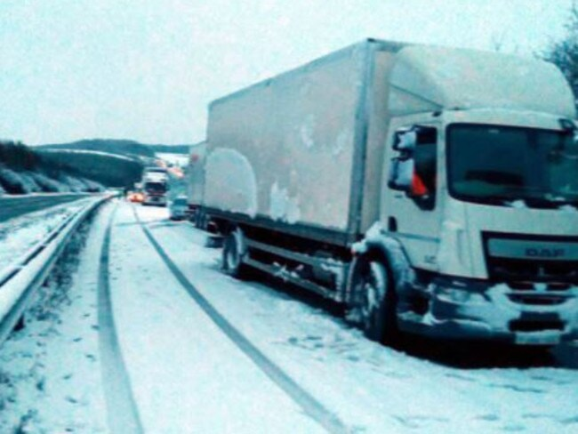 There was carnage across Britain's roads as trucks came to a halt in the snow. Picture: Twitter