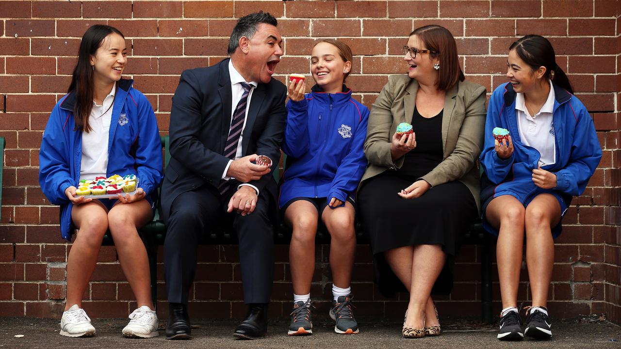 Students at Willoughby Girls High School in NSW cooked and sold cakes for the Adopt a Farmer campaign. Pictured left to right are Grace, NSW Deputy Premier John Barilaro, Thalia, NSW Education Minister Sarah Mitchell and Namika. Picture: Sam Ruttyn
