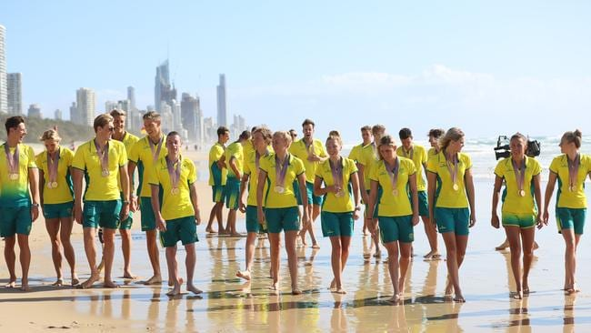 The Australian swim team's medal tally at the Gold Coast games broke records. Picture: Alex Coppel.