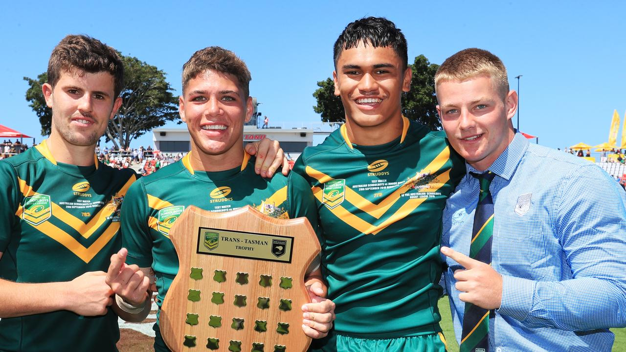 Brendan Piakura, second from right, playing for the Australian Schoolboys.