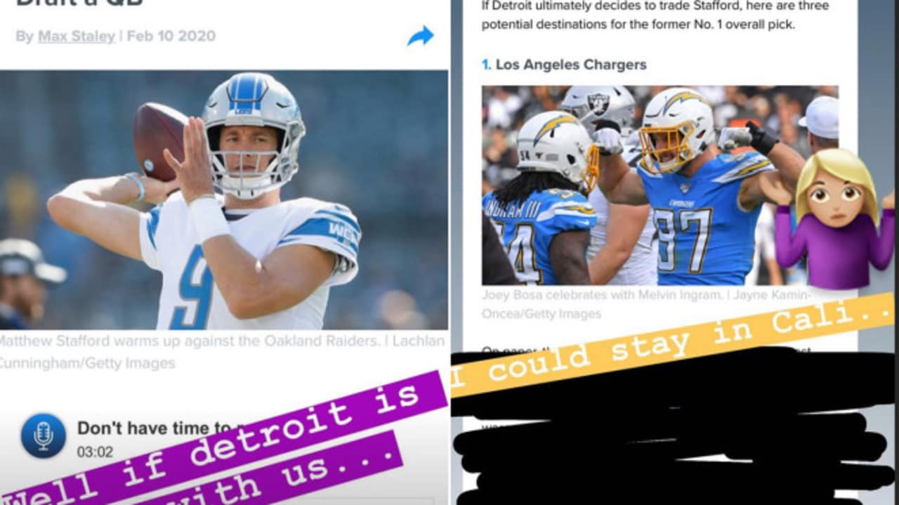 Kelly Stafford dropping hints on Instagram.