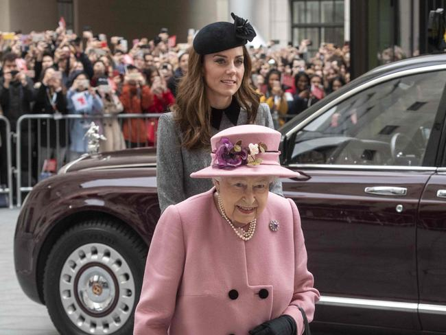 The Queen and Kate in London. Picture: AFP