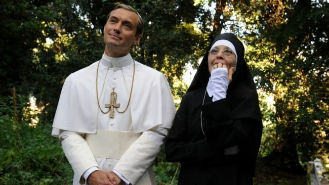 Jude Law and Diane Keaton in The Young Pope. Photo: SBS