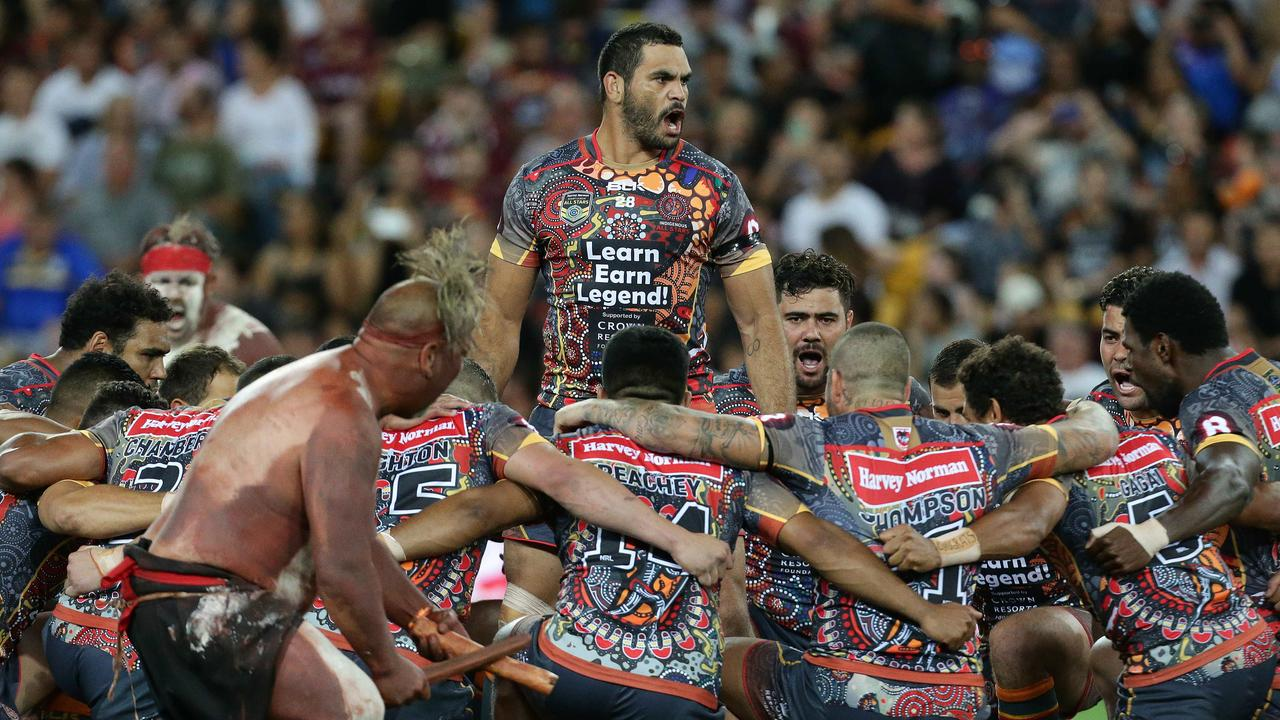 Greg Inglis during the 2016 Indigenous All Stars V World All Stars NRL game at Suncorp Stadium, Brisbane. Pics Adam Head