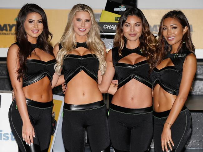 Monster Energy Girls Pose In Victory Lane After The NASCAR Cup Series Can