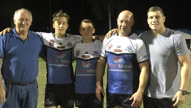 Jarrod Wallace (right) with grandfather Wayne, brothers Cooper and Logan, and father Craig. Jarrod is set to make his State of Origin debut for Queensland.