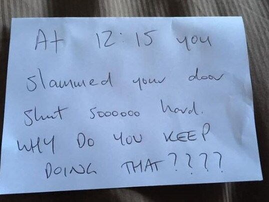 A woman received an 'aggressive' note after slamming her door in the middle of the day. Picture via Facebook