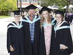 Grace Saunders, Matt Dowde, Madeleine Jarman and Isabella Finnigan at the UTAS Graduation at Launceston. PICTURE CHRIS KIDD