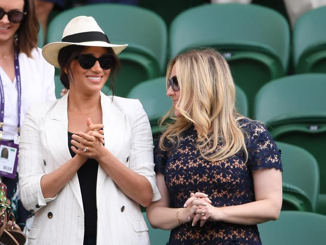 Meghan Markle and her mates were surrounded by an exclusion zone of empty seats at Wimbledon. Picture: Laurence Griffiths/Getty Images