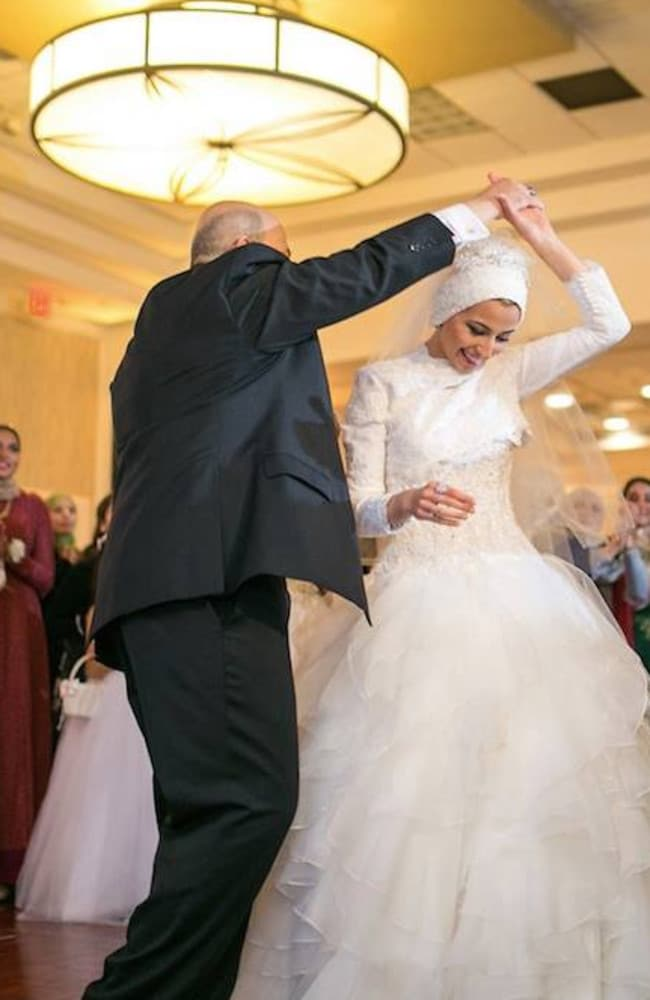 Heartbreaking ... Yusor Abu-Salha, 21, shared this beautiful photo on Facebook of her dancing with her dad on her wedding day. Picture: Facebook/Yusor Abu-Salha