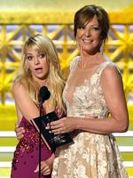 Anna Faris and Allison Janney speak onstage during the 69th Annual Primetime Emmy Awards at Microsoft Theater on September 17, 2017 in Los Angeles, California. Picture: Getty