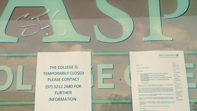 This Aspire college location in St Marys, western Sydney closed this month after its parent company collapsed.