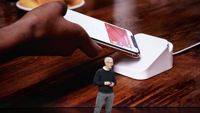 Apple CEO Tim Cook speaks at the Steve Jobs Theatre during an event to announce new products Monday, March 25, 2019, in Cupertino, Calif. Picture: Tony Avelar)