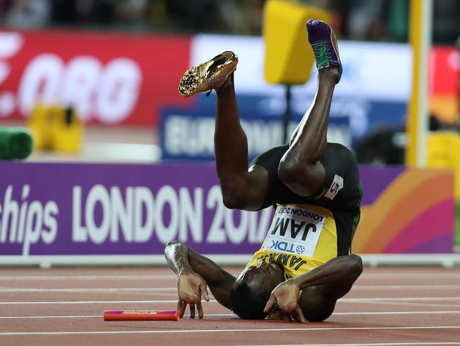 Bolt, mid-roll. Picture: AFP