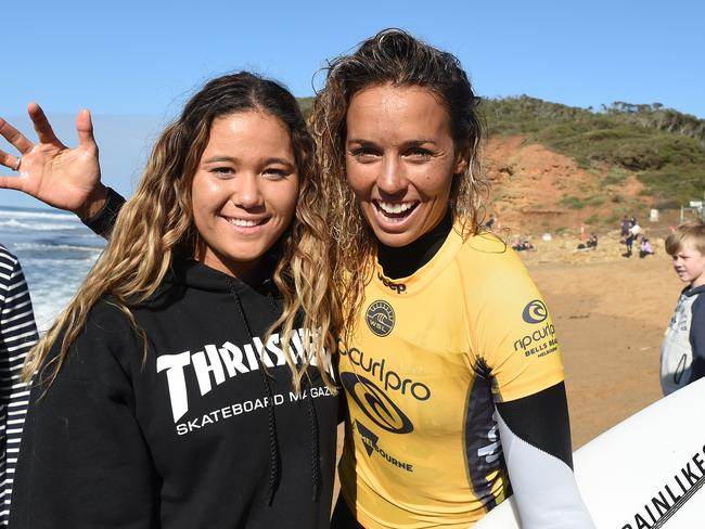 Sally Fitzgibbons with a fan at Bells Beach.