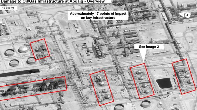 A panel of experts have explained why the Saudi government seems hesitant to explicitly accuse Iran of carrying out the strikes. Picture: US Government/Digital Globe via AP
