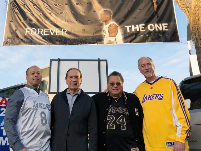 Tom Ling, Rene Vega, Bob Melendez and Brett Noss pose outside Staples Center before a public memorial Kobe Bryant and his daughter, Gianna. Picture: AP