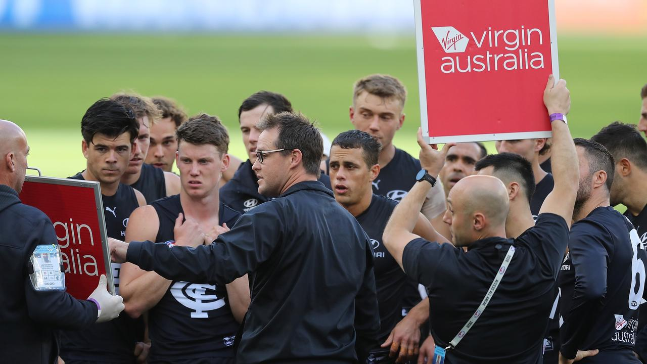 """Blues coach David Teague says his side's ability to maintain pressure at the moment """"is an issue"""". Picture: Will Russell"""