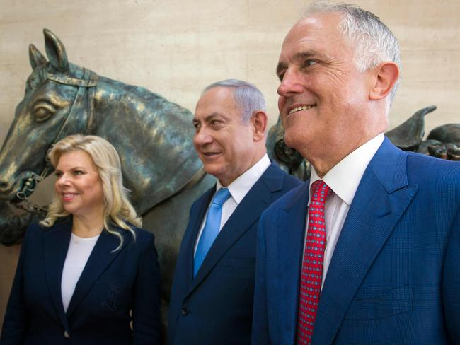 Australian Prime Minister Malcolm Turnbull (R), Israeli Prime Minister Benjamin Netanyahu (C) and the Israeli leader's wife Sara. Picture: AFP Photo