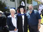 Leanne Bonney, Jasmine Gaul and Paul Bonney at the UTAS Graduation at Burnie. PICTURE CHRIS KIDD