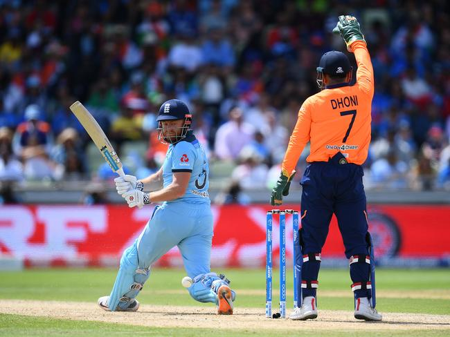 Jonny Bairstow of England on his way to a century as MS Dhoni of India appeals. Picture: Clive Mason/Getty Images