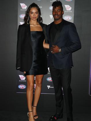 Shanina Shaik and soon-to-be ex husband DJ Ruckus in Melbourne last year. Picture: Graham Denholm/AFL Media/Getty Images