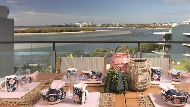 Ready for lunch on the veranda at the Sunshine Coast unit at 307/12 Otranto Avenue, Caloundra.