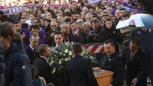 The coffin of Fiorentina's captain Davide Astori is carried inside Santa Croce basilica for the funeral