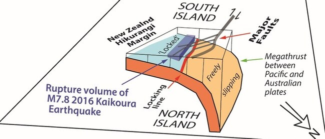 This image shows how the megathrust contributed to the Kaikoura earthquake in 2016. Picture: Simon Lamb