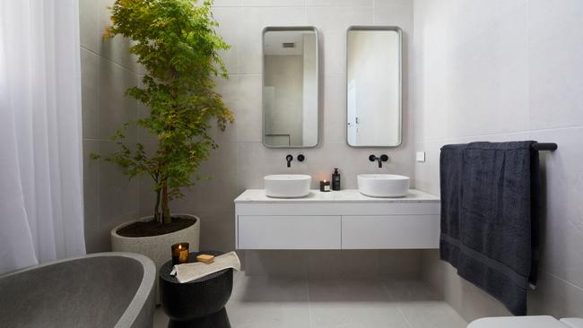Norm and Jess's Japanese maple tree in this bathroom was a hit with the judges. Source: The Block