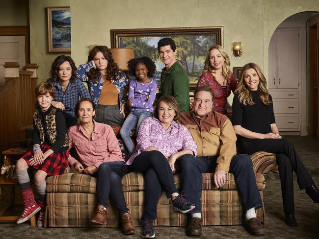 Roseanne with her co-stars in the rebooted sitcom, which has been a massive hit in the US. Picture: ABC