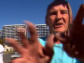 Chris Dawson reacts when confronted by a camera crew from A Current Affair in August. Picture: A Current Affair