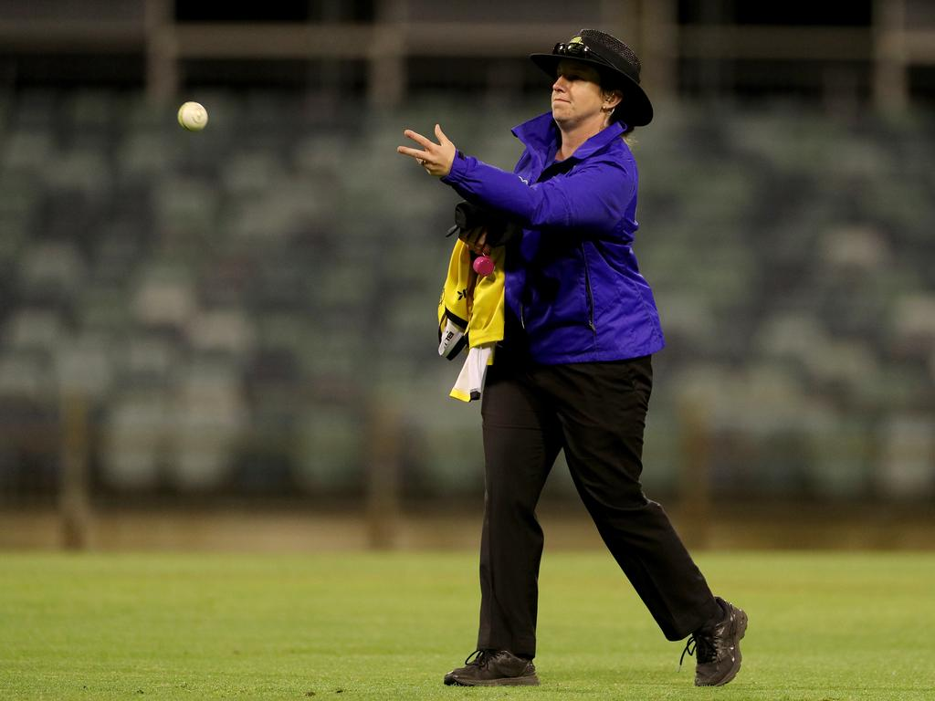 Field umpire Claire Polosak during the Marsh One Day Cup.