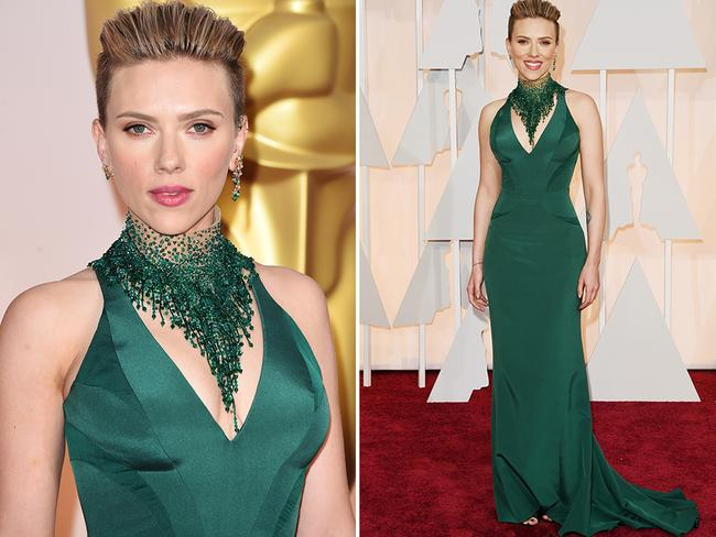 One of Aly Scott's clients, Scarlett Johansson, rocking a bright colour at the Oscars in 2015. Picture: Getty
