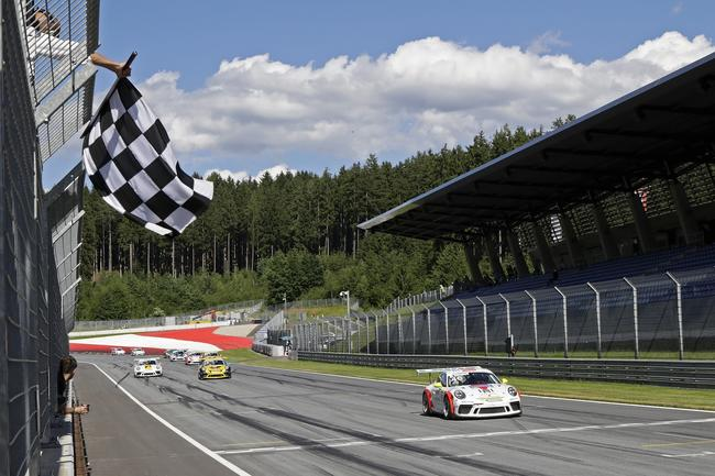 Campbell took his first European win at the Red Bull Ring in Carrera Cup Germany.