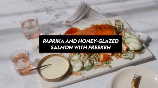 Paprika and honey-glazed salmon with freekeh