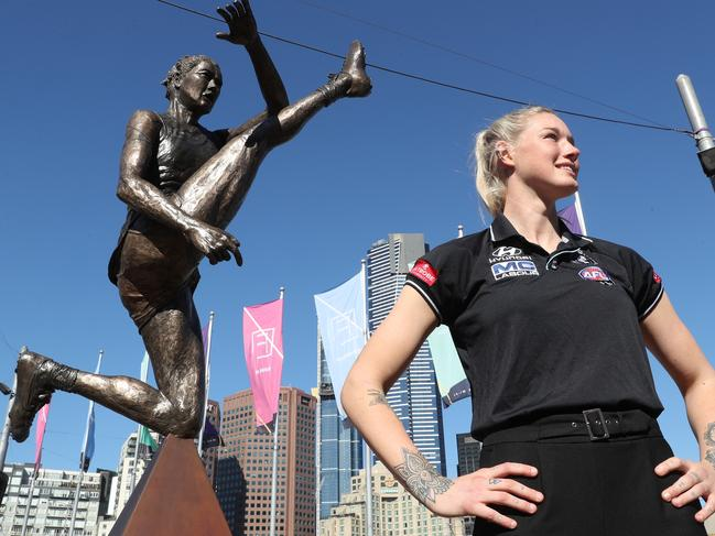 AFLW star Tayla Harris at the unveiling of the iconic statue.