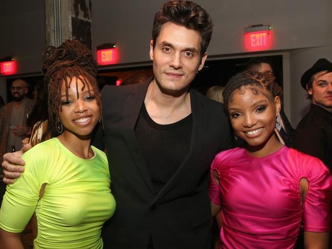 John Mayer with Chloe and Halle Bailey of Chloe X Halle at the Sony party. Picture: Getty Images
