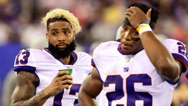 Giants offensive superstars Odell Beckham #13 and Saquon Barkley #26. Picture: Getty Images
