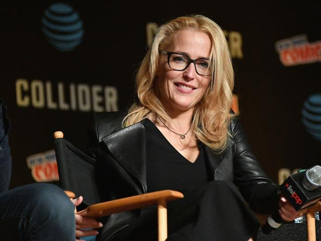 Gillian Anderson speaks onstage at The X-Files panel during 2017 New York Comic Con. Picture: Getty