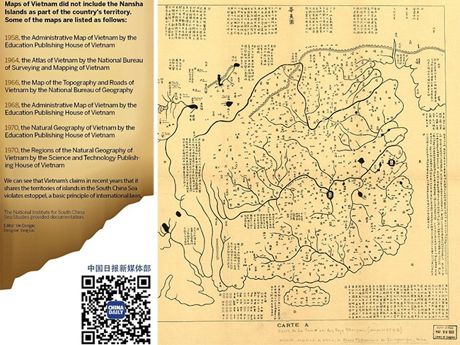 Source: China Daily. Inset right, the engraved Fuchang map dating from 1136AD which shows China's borders ending at Hainan island.