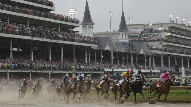 There's a dark side to the Kentucky Derby horse race at Churchill Downs, in Louisville, US. Picture: AP/Darron Cummings.